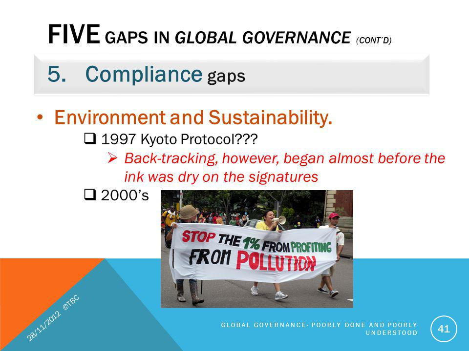 FIVE GAPS IN GLOBAL GOVERNANCE (CONTD) 5.Compliance gaps 28/11/2012 ©TBC GLOBAL GOVERNANCE- POORLY DONE AND POORLY UNDERSTOOD 41 Environment and Susta