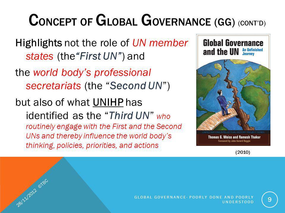 FIVE GAPS IN GLOBAL GOVERNANCE (CONTD) 5.Compliance gaps 28/11/2012 ©TBC GLOBAL GOVERNANCE- POORLY DONE AND POORLY UNDERSTOOD 40 International Trade and Finance.