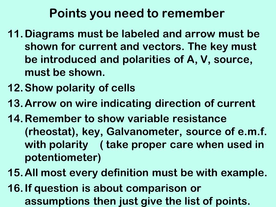 Points you need to remember 11.Diagrams must be labeled and arrow must be shown for current and vectors. The key must be introduced and polarities of