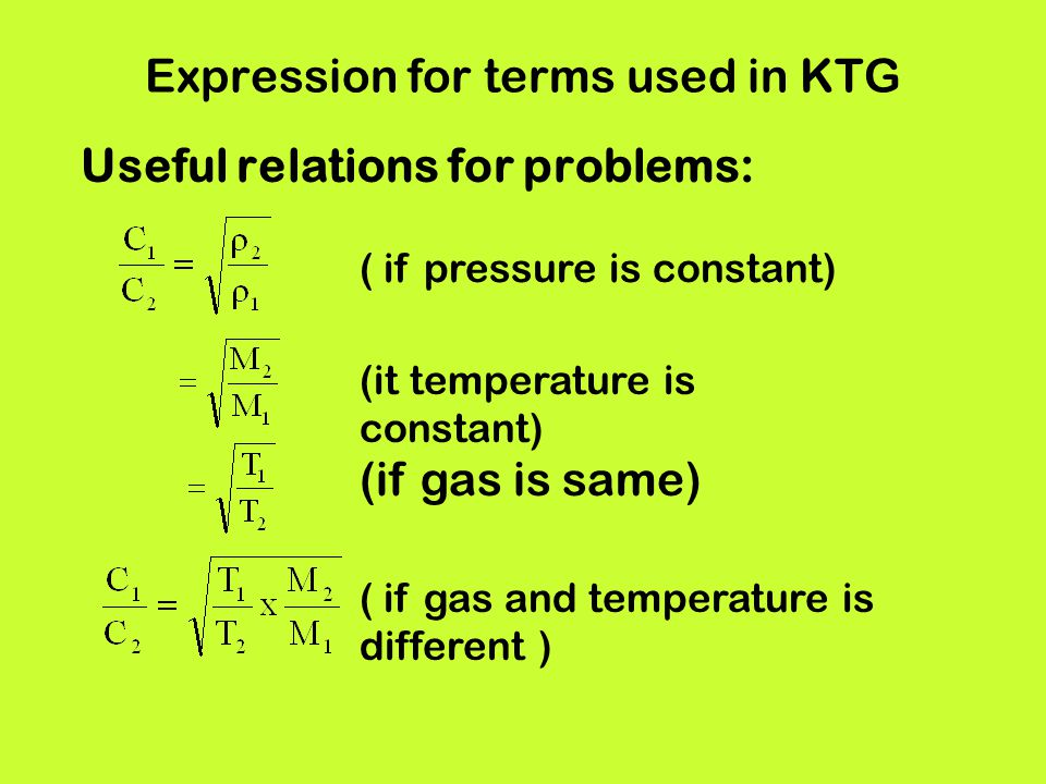 Expression for terms used in KTG Useful relations for problems: ( if pressure is constant) (it temperature is constant) (if gas is same) ( if gas and