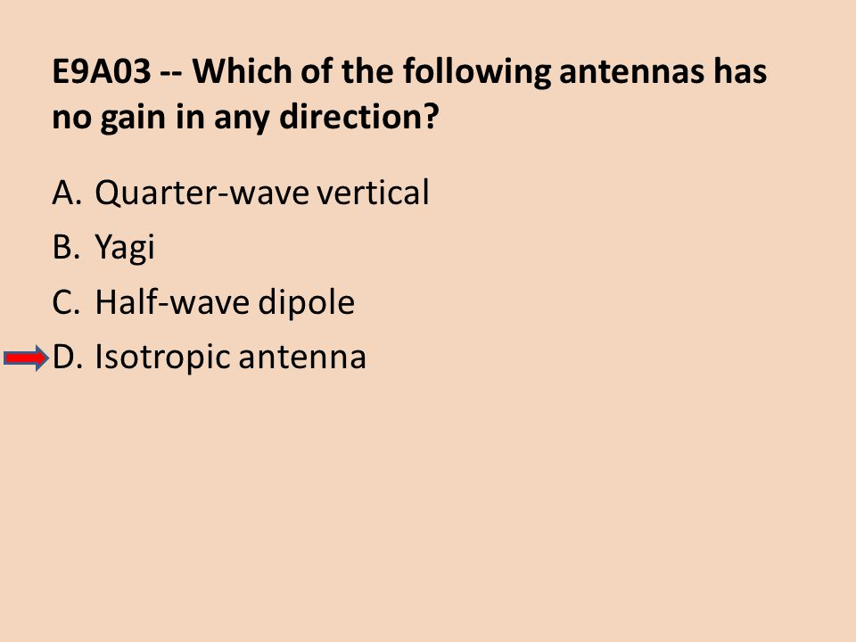 E9A03 -- Which of the following antennas has no gain in any direction? A.Quarter-wave vertical B.Yagi C.Half-wave dipole D.Isotropic antenna