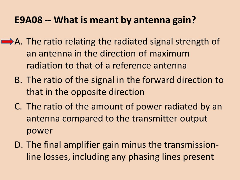 E9A08 -- What is meant by antenna gain? A.The ratio relating the radiated signal strength of an antenna in the direction of maximum radiation to that