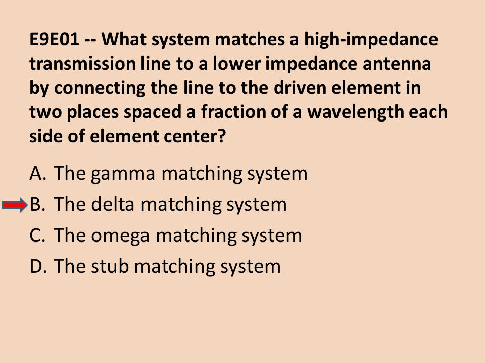 E9E01 -- What system matches a high-impedance transmission line to a lower impedance antenna by connecting the line to the driven element in two place