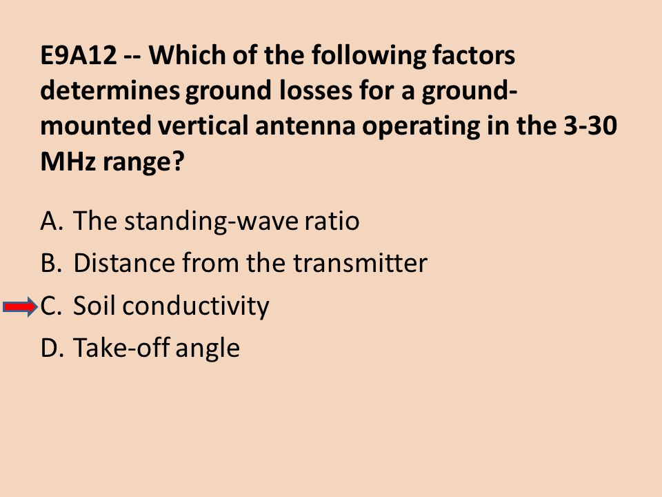 E9A12 -- Which of the following factors determines ground losses for a ground- mounted vertical antenna operating in the 3-30 MHz range? A.The standin