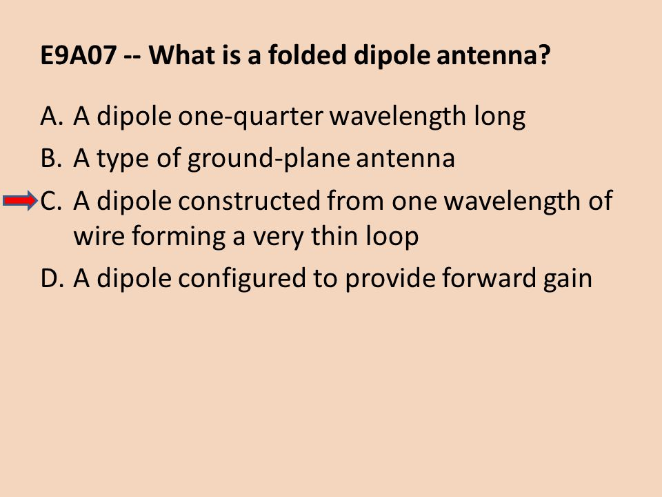 E9A07 -- What is a folded dipole antenna? A.A dipole one-quarter wavelength long B.A type of ground-plane antenna C.A dipole constructed from one wave