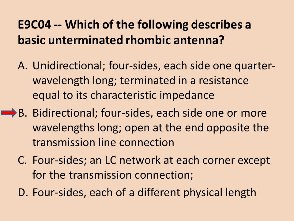 E9C04 -- Which of the following describes a basic unterminated rhombic antenna? A.Unidirectional; four-sides, each side one quarter- wavelength long;