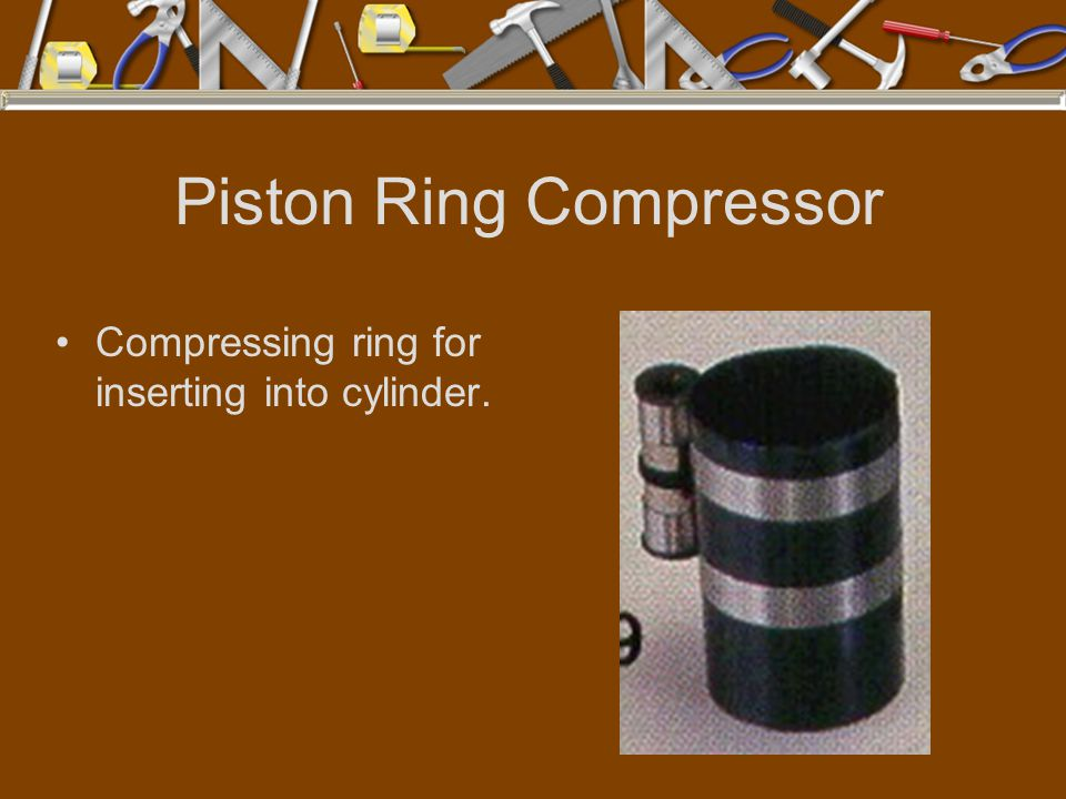 Piston Ring Compressor Compressing ring for inserting into cylinder.