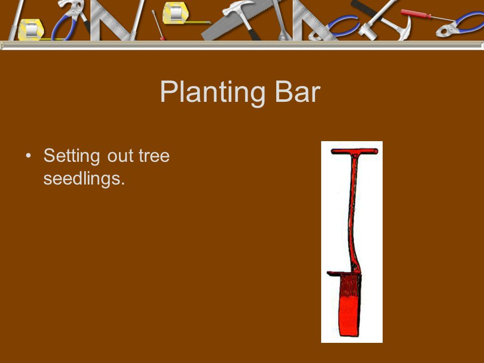 Planting Bar Setting out tree seedlings.