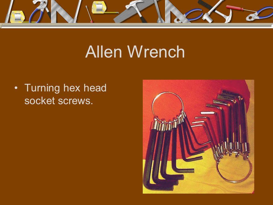 Allen Wrench Turning hex head socket screws.