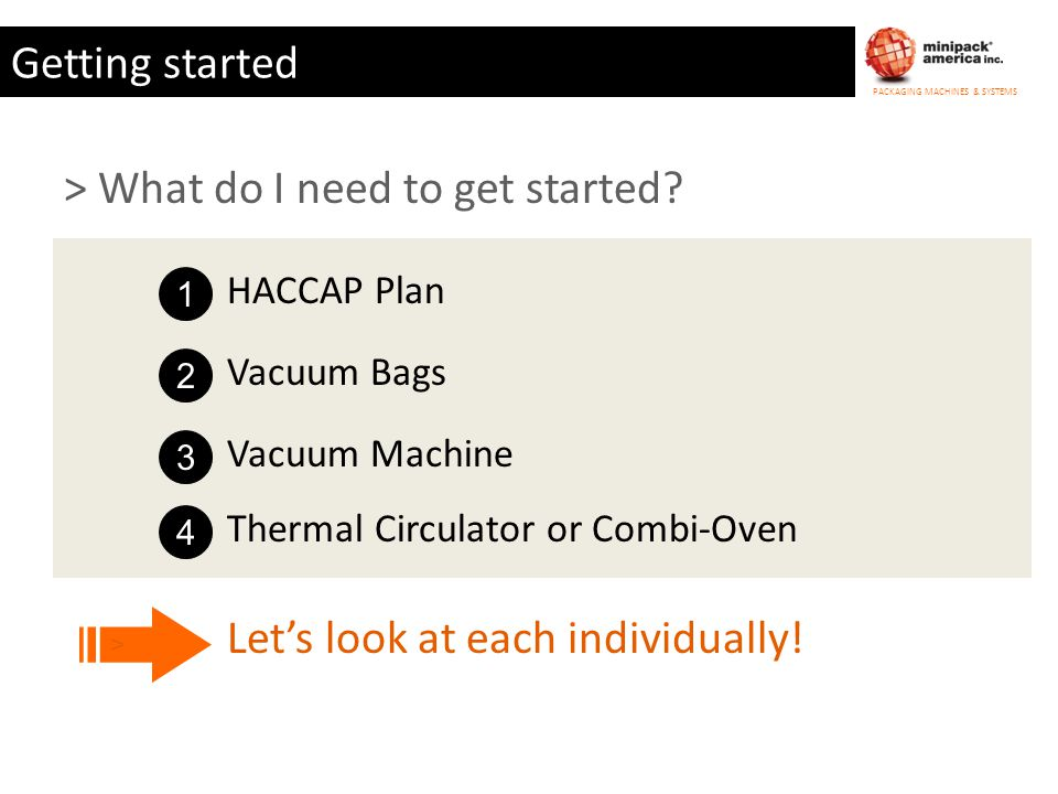 PACKAGING MACHINES & SYSTEMS Getting started > What do I need to get started? Lets look at each individually! > 1 HACCAP Plan 2 Vacuum Bags 3 Vacuum M