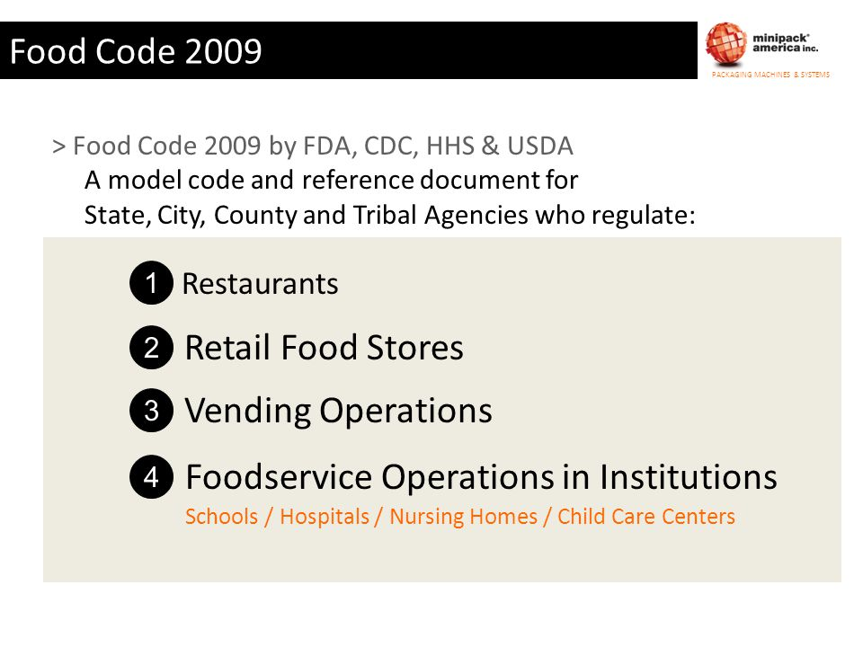 PACKAGING MACHINES & SYSTEMS Food Code 2009 > Food Code 2009 by FDA, CDC, HHS & USDA A model code and reference document for State, City, County and T