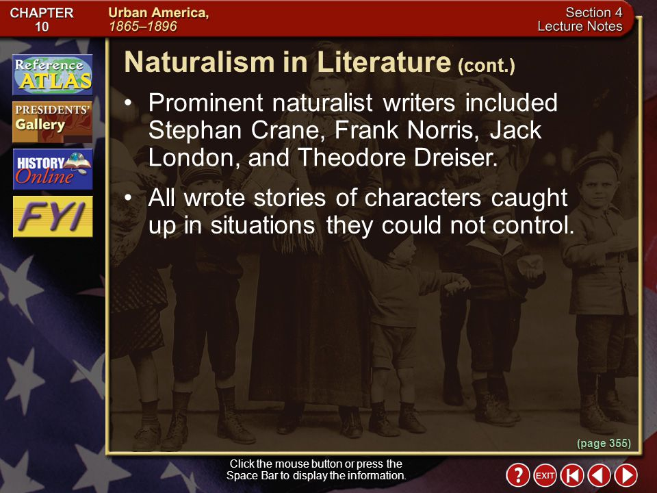 Section 4-9 (page 355) Naturalism in Literature Click the mouse button or press the Space Bar to display the information. Realists argued that people