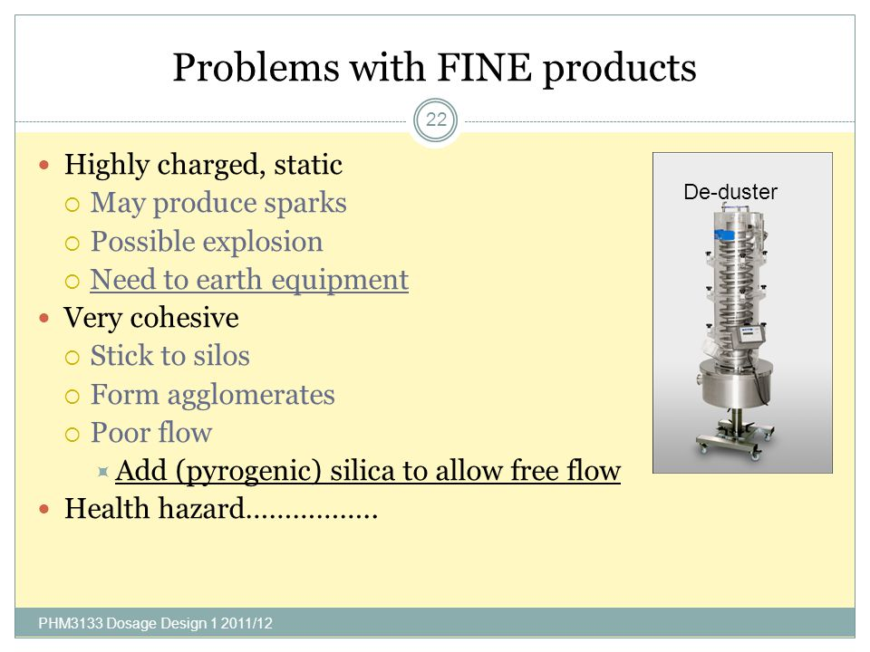 Problems with FINE products PHM3133 Dosage Design 1 2011/12 22 Highly charged, static May produce sparks Possible explosion Need to earth equipment Ve