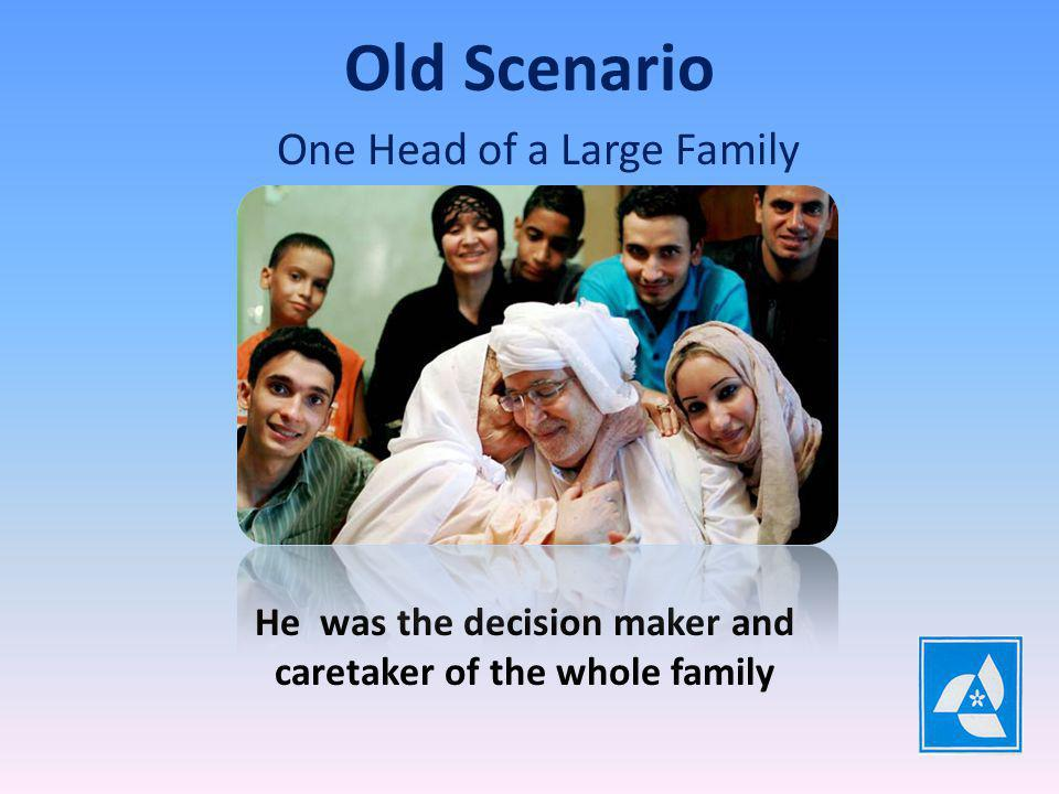 One Head of a Large Family Old Scenario He was the decision maker and caretaker of the whole family