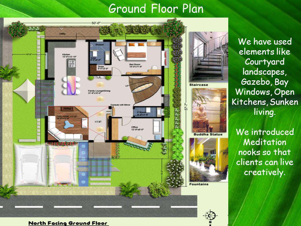 Ground Floor Plan We have used elements like Courtyard landscapes, Gazebo, Bay Windows, Open Kitchens, Sunken living.