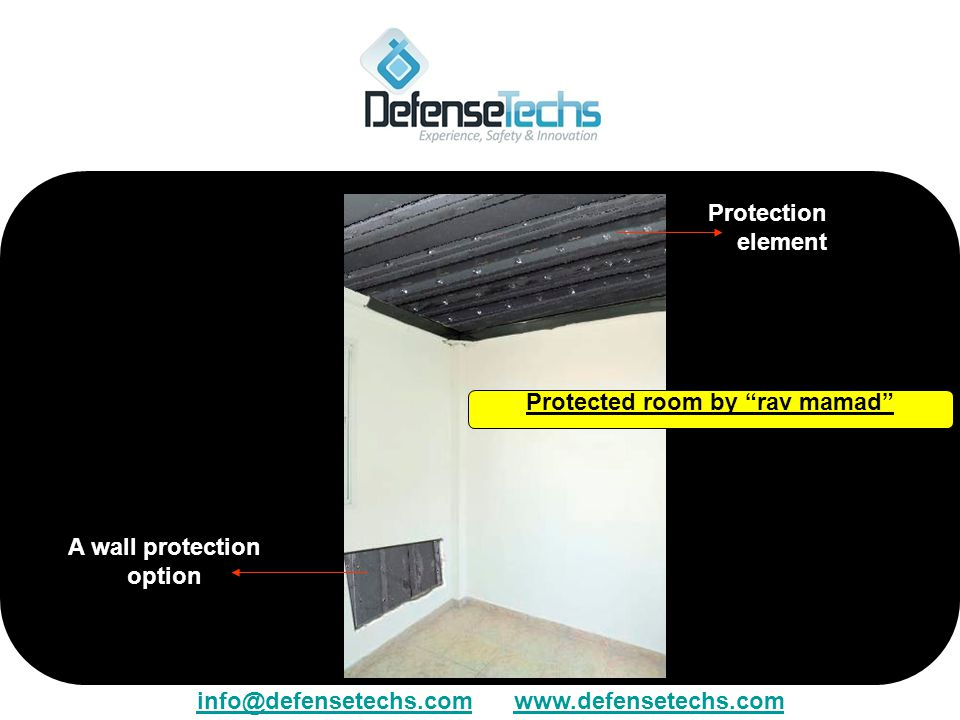 Protection element A wall protection option Protected room by rav mamad info@defensetechs.cominfo@defensetechs.com www.defensetechs.comwww.defensetech