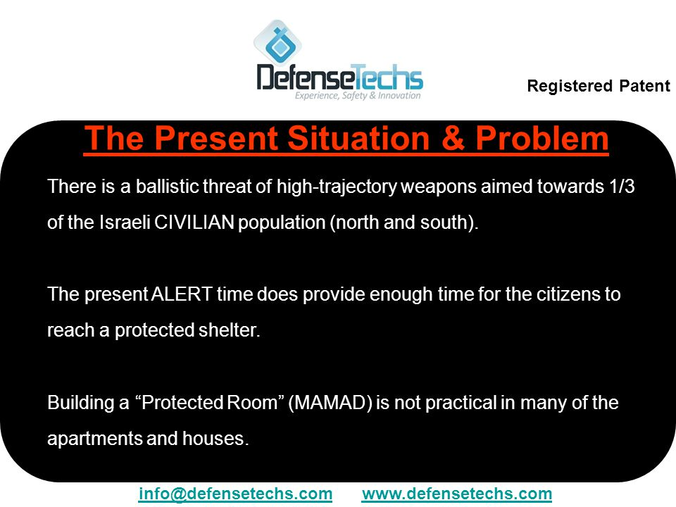 The Present Situation & Problem There is a ballistic threat of high-trajectory weapons aimed towards 1/3 of the Israeli CIVILIAN population (north and