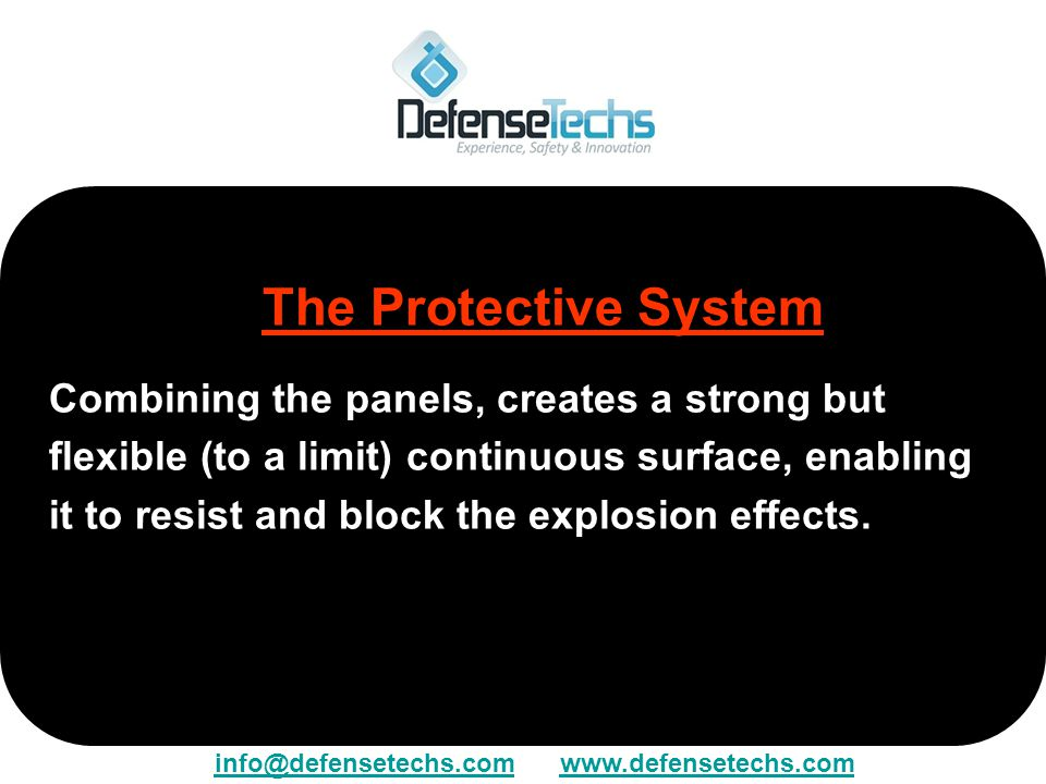 The Protective System Combining the panels, creates a strong but flexible (to a limit) continuous surface, enabling it to resist and block the explosi