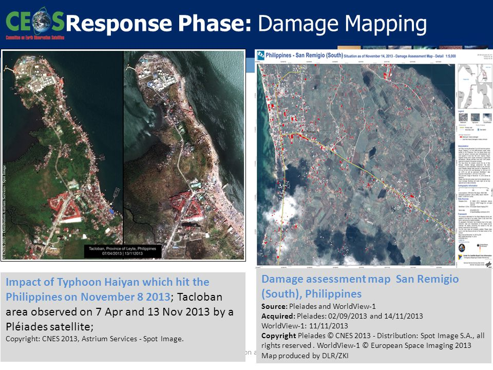 19 Response Phase: Damage Mapping Disasters Risk Reduction and EO: a GEO perspective Impact of Typhoon Haiyan which hit the Philippines on November 8