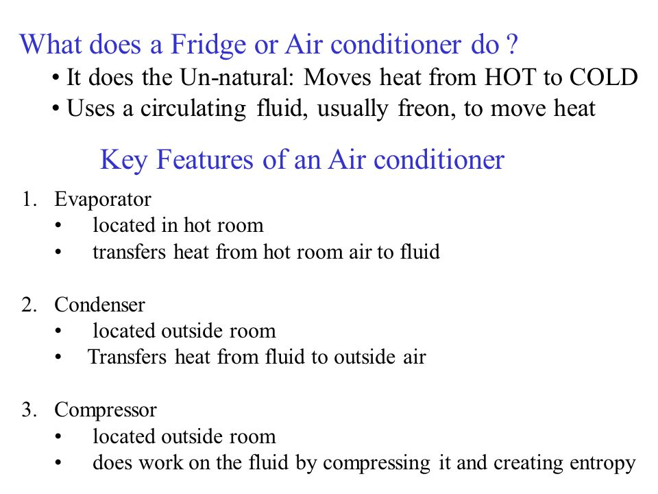 Key Features of an Air conditioner 1.Evaporator located in hot room transfers heat from hot room air to fluid 2.Condenser located outside room Transfe