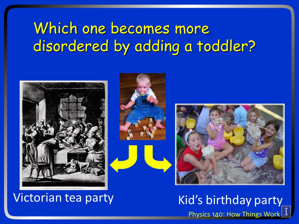 Victorian tea party Kids birthday party Which one becomes more disordered by adding a toddler?