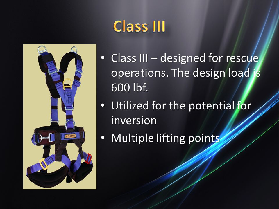 Class III – designed for rescue operations.The design load is 600 lbf.
