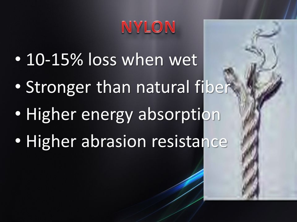 10-15% loss when wet 10-15% loss when wet Stronger than natural fiber Stronger than natural fiber Higher energy absorption Higher energy absorption Higher abrasion resistance Higher abrasion resistance