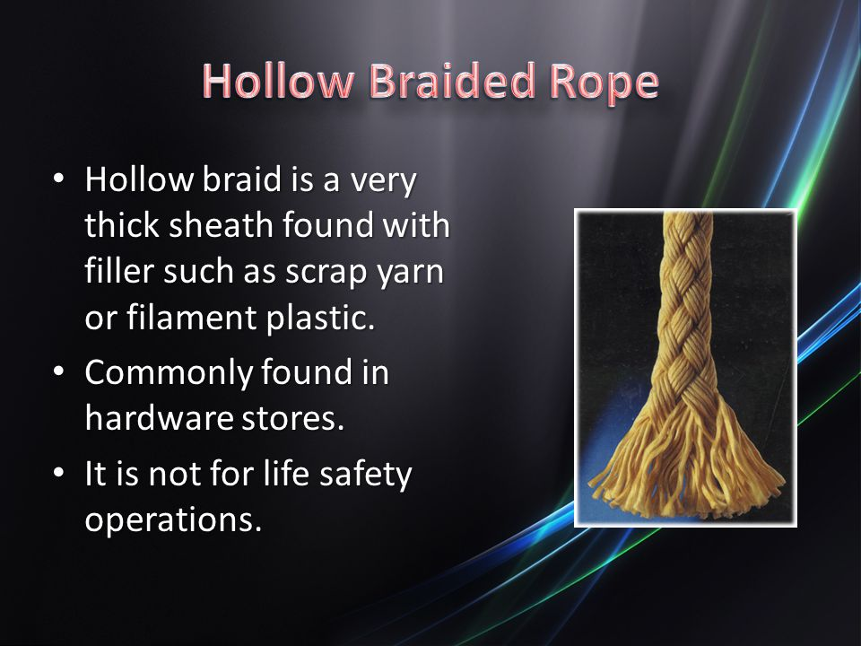 Hollow braid is a very thick sheath found with filler such as scrap yarn or filament plastic.