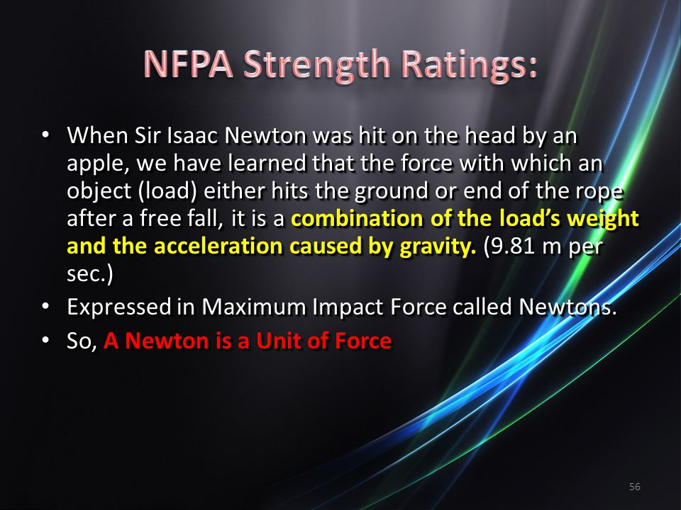56 When Sir Isaac Newton was hit on the head by an apple, we have learned that the force with which an object (load) either hits the ground or end of the rope after a free fall, it is a combination of the loads weight and the acceleration caused by gravity.
