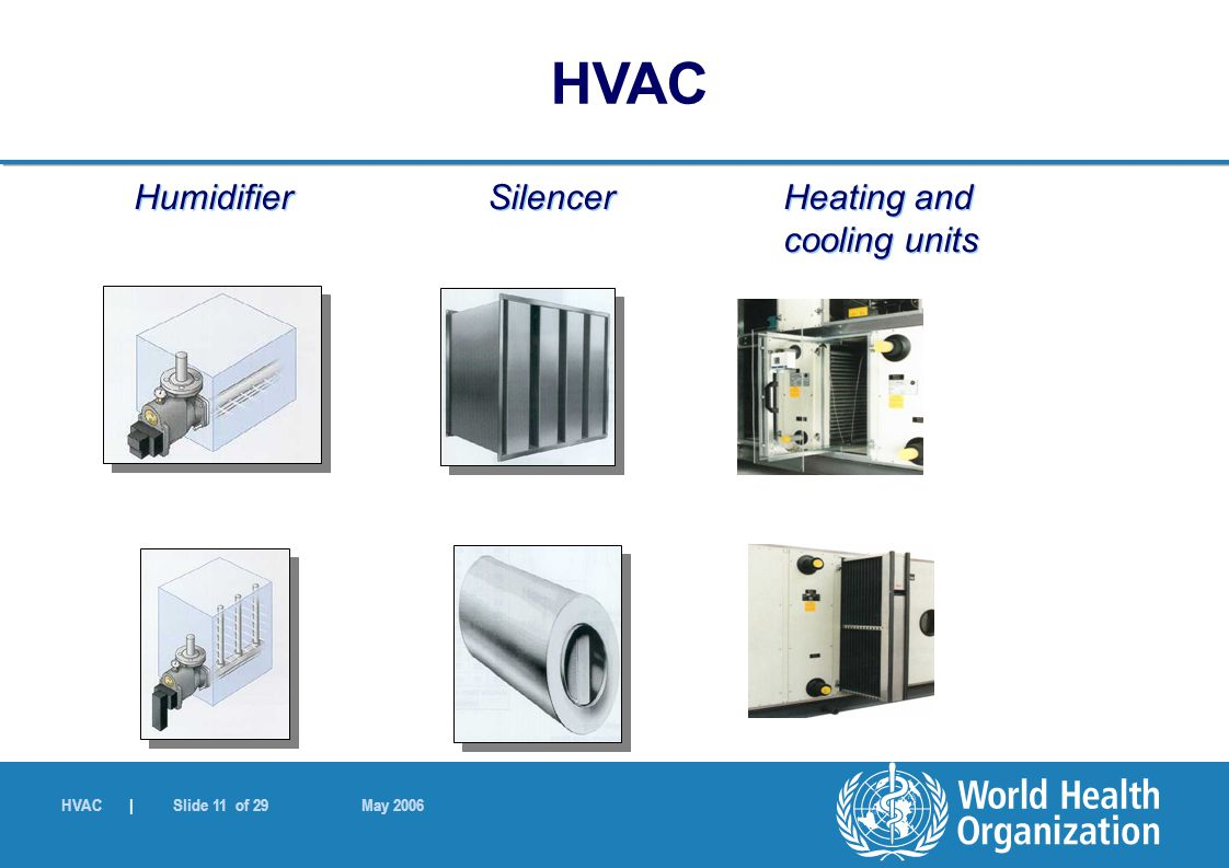 HVAC | Slide 11 of 29 May 2006 Humidifier Silencer Heating and cooling units HVAC