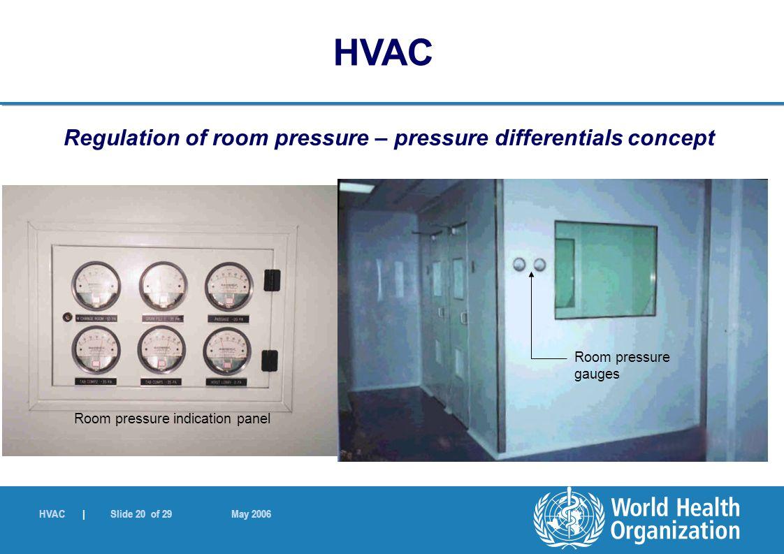 HVAC | Slide 20 of 29 May 2006 Regulation of room pressure – pressure differentials concept Room pressure gauges Room pressure indication panel HVAC