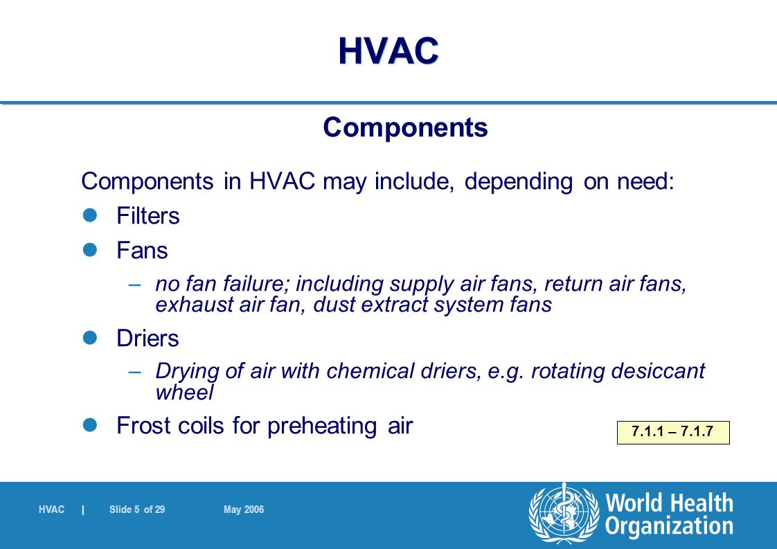 HVAC | Slide 5 of 29 May 2006 HVAC Components Components in HVAC may include, depending on need: Filters Fans –no fan failure; including supply air fa