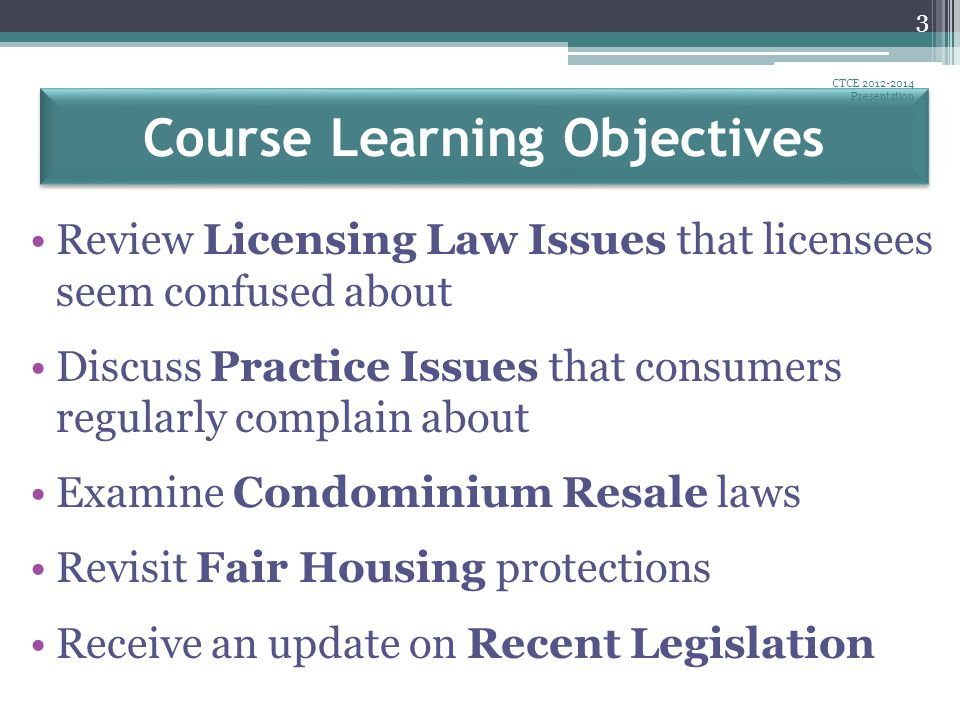 Connecticut Real Estate Licensing Law Statutes and Regulations are available at http://ct.gov/dcp click Laws and Regulations scroll to Real Estate for Statutes Click Real Estate Brokers and Salespersons, Chapter 392Real Estate Brokers and Salespersons, Chapter 392 for Regulations Click Regulations, Real Estate Brokers and SalespersonsRegulations, Real Estate Brokers and Salespersons Recent Public Acts are available at http://cga.ct.gov use Quick Search tool bar CTCE 2012-2014 Presentation August 2012 54 Recent Legislation: Resources