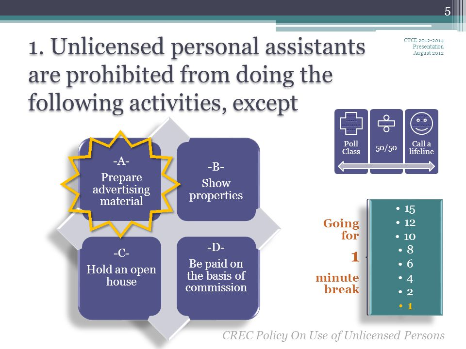 1. Unlicensed personal assistants are prohibited from doing the following activities, except CTCE 2012-2014 Presentation August 2012 5 Going for 1 min