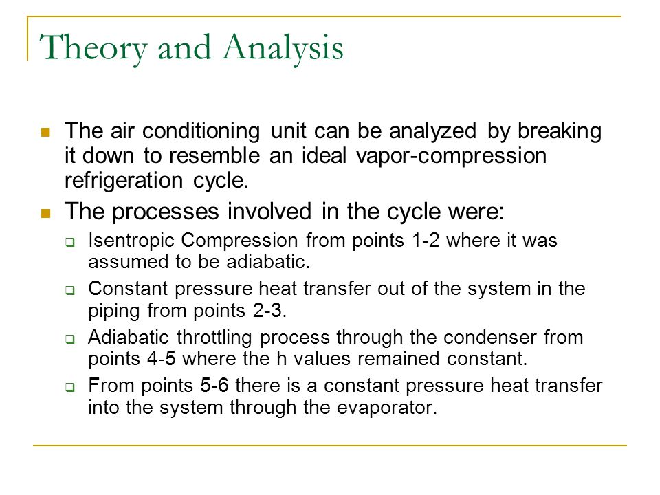 Theory and Analysis The air conditioning unit can be analyzed by breaking it down to resemble an ideal vapor-compression refrigeration cycle. The proc