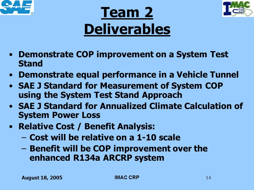 August 18, 2005IMAC CRP14 Team 2 Deliverables Demonstrate COP improvement on a System Test Stand Demonstrate equal performance in a Vehicle Tunnel SAE
