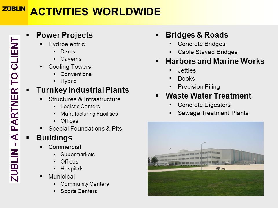 ACTIVITIES WORLDWIDE Power Projects Hydroelectric Dams Caverns Cooling Towers Conventional Hybrid Turnkey Industrial Plants Structures & Infrastructur
