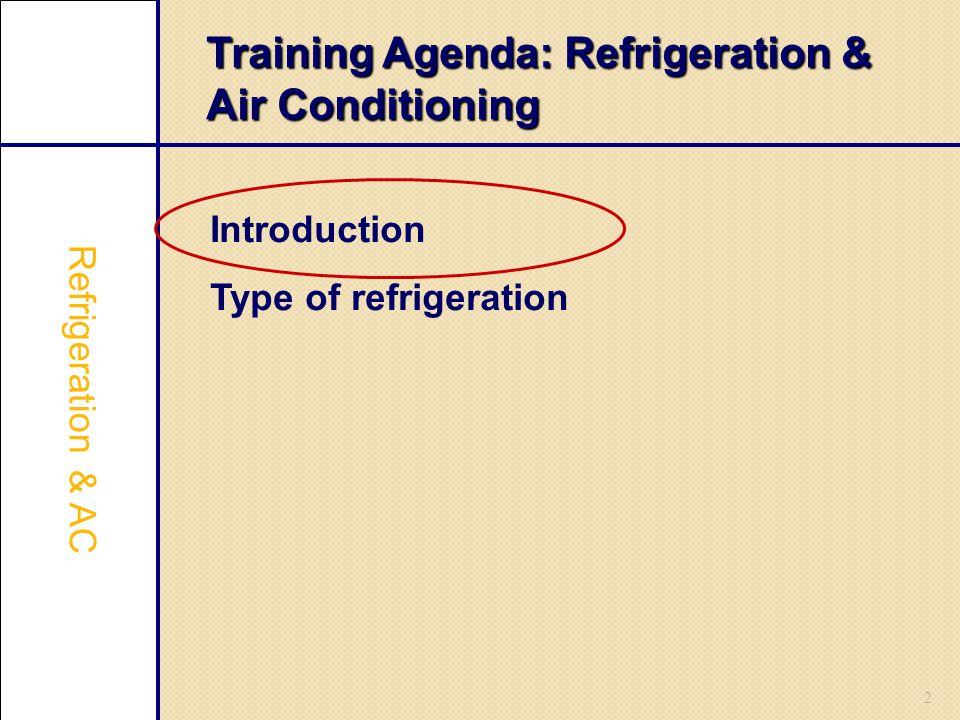 2 Training Agenda: Refrigeration & Air Conditioning Introduction Type of refrigeration Refrigeration & AC