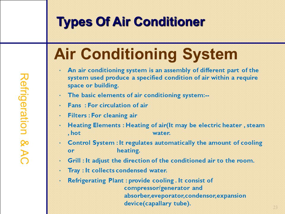 Types Of Air Conditioner 23 An air conditioning system is an assembly of different part of the system used produce a specified condition of air within