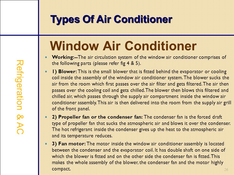26 Types Of Air Conditioner Window Air Conditioner Refrigeration & AC Working:--The air circulation system of the window air conditioner comprises of