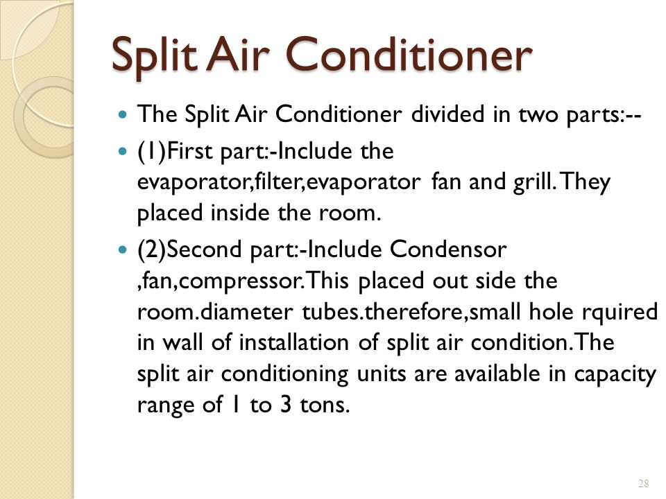 Split Air Conditioner The Split Air Conditioner divided in two parts:-- (1)First part:-Include the evaporator,filter,evaporator fan and grill. They pl
