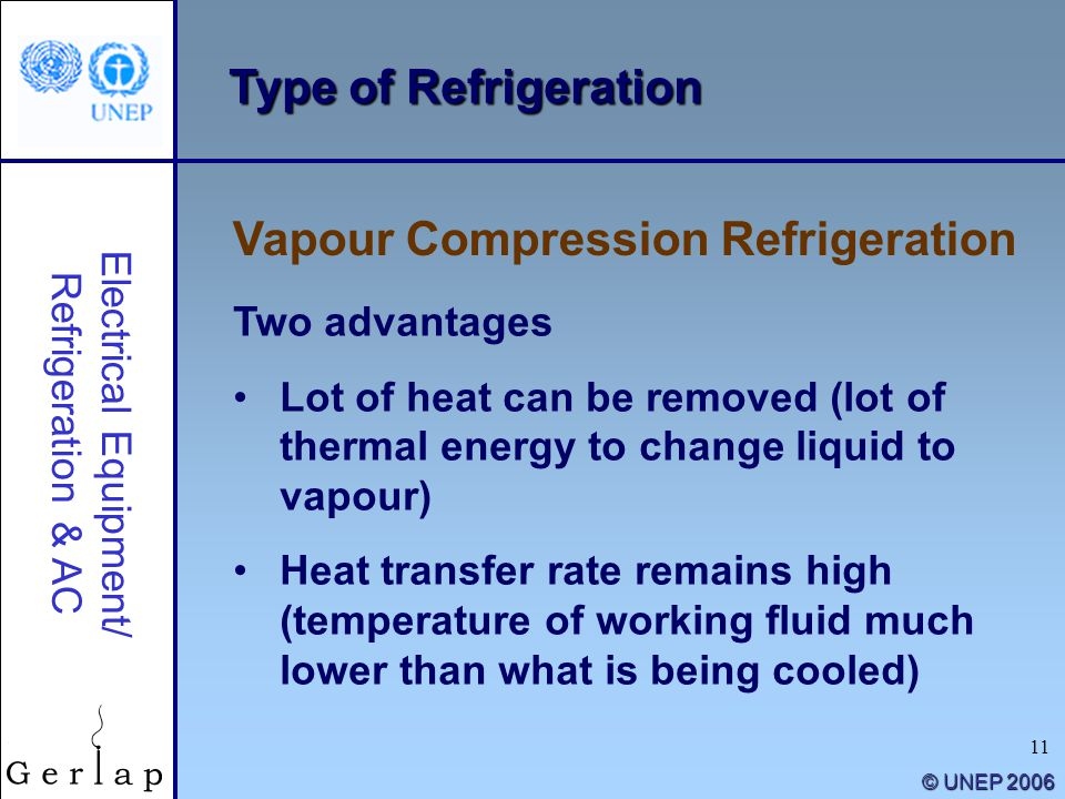 11 © UNEP 2006 Type of Refrigeration Vapour Compression Refrigeration Electrical Equipment/ Refrigeration & AC Two advantages Lot of heat can be remov