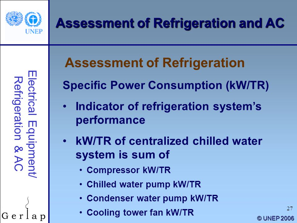 27 © UNEP 2006 Specific Power Consumption (kW/TR) Indicator of refrigeration systems performance kW/TR of centralized chilled water system is sum of C