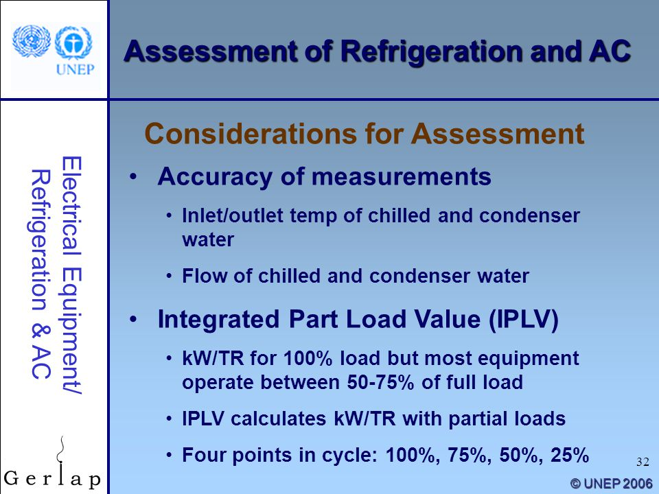 32 © UNEP 2006 Accuracy of measurements Inlet/outlet temp of chilled and condenser water Flow of chilled and condenser water Integrated Part Load Valu