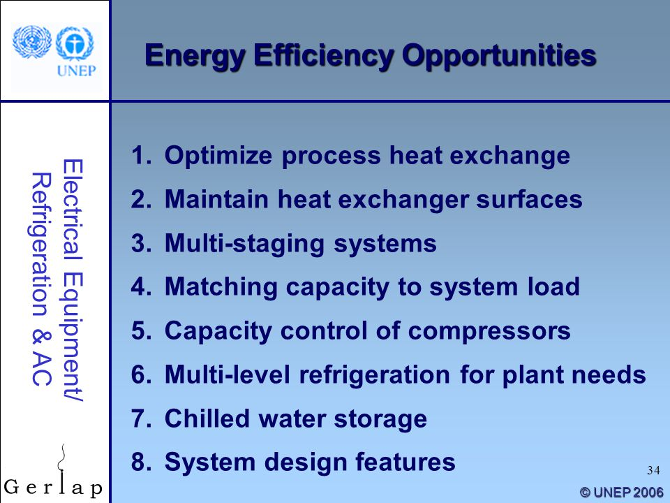34 © UNEP 2006 1.Optimize process heat exchange 2.Maintain heat exchanger surfaces 3.Multi-staging systems 4.Matching capacity to system load 5.Capaci