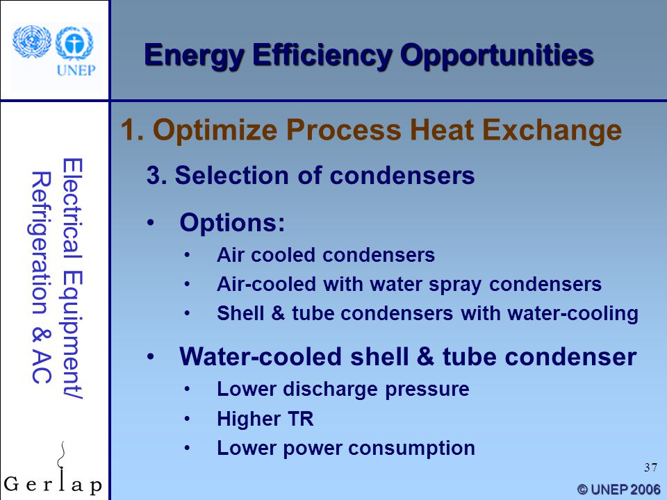 37 © UNEP 2006 Energy Efficiency Opportunities 3. Selection of condensers Options: Air cooled condensers Air-cooled with water spray condensers Shell