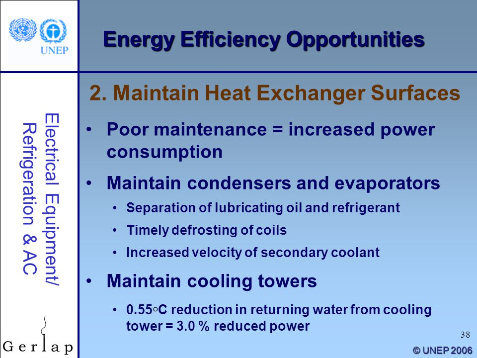 38 © UNEP 2006 Energy Efficiency Opportunities Poor maintenance = increased power consumption Maintain condensers and evaporators Separation of lubric
