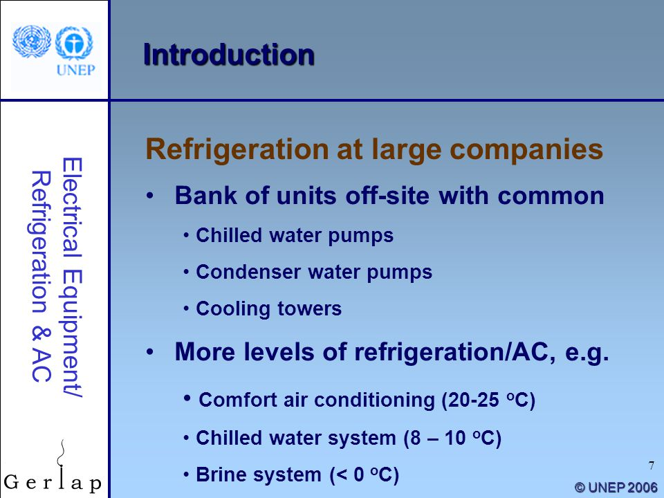 7 © UNEP 2006 Introduction Bank of units off-site with common Chilled water pumps Condenser water pumps Cooling towers More levels of refrigeration/AC
