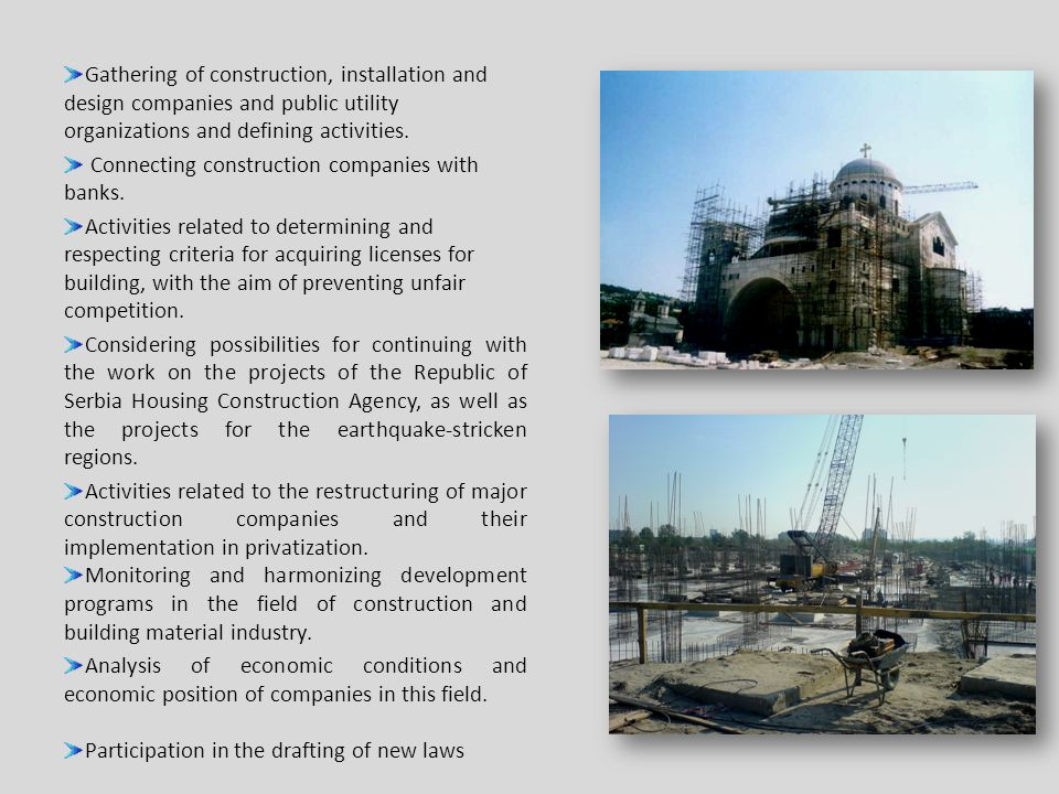 Gathering of construction, installation and design companies and public utility organizations and defining activities.