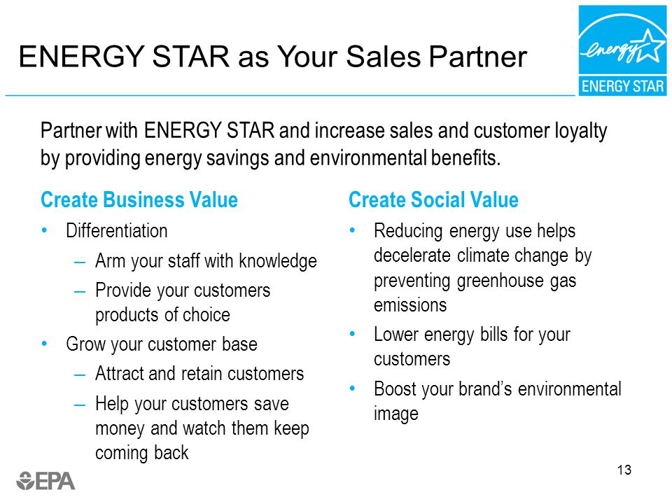 ENERGY STAR as Your Sales Partner Create Business Value Differentiation – Arm your staff with knowledge – Provide your customers products of choice Grow your customer base – Attract and retain customers – Help your customers save money and watch them keep coming back Create Social Value Reducing energy use helps decelerate climate change by preventing greenhouse gas emissions Lower energy bills for your customers Boost your brands environmental image 13 Partner with ENERGY STAR and increase sales and customer loyalty by providing energy savings and environmental benefits.